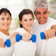 Portrait of fit family having fun with dumbbells - Foto Stock