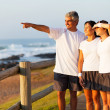 Middle aged man pointing at ocean with family — Stock Photo #25257799