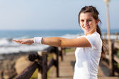 Cute healthy teen girl doing morning exercise — Stock Photo