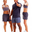 Group of happy gym instructors giving thumbs up — Stock Photo
