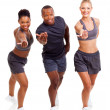 Stock Photo: Cheerful group fit inviting to join exercise