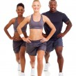 Group of exercising on white background — Stock Photo