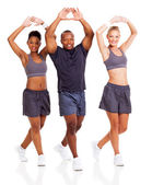 Groep van stretching aan warming-up — Stockfoto
