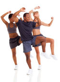 Happy group doing aerobic dance — Stock Photo