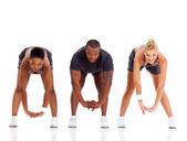 Group of three stretching — Stock Photo