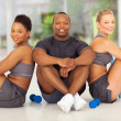 Group of sitting after working out — Stock Photo