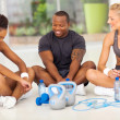 Stock Photo: Group of relaxing after exercise