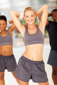 Fit woman workout with friends — Stock Photo