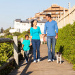 Family walking their dog at the beach — Stock Photo