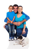 Young family with pet dog — Stock Photo