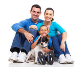 Family and pet dog — Stock Photo
