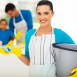 Young woman with cleaning tools — Stock Photo #25522613