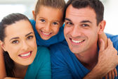 Cute family face closeup — Stock Photo