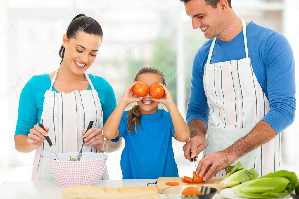 happy family cooking in kitchen  stock photo © michaeljung, Kitchen design