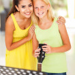 Music teacher with preteen girl after music lesson — Stock Photo