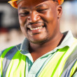 Stock Photo: African american male construction worker