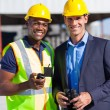 African construction worker and manager — Stock Photo
