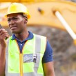 African american mine worker with walkie-talkie — Stock Photo