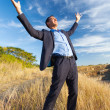 Excited businessman on top of rock — Stock Photo