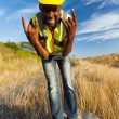 Happy african construction worker — Stock Photo