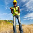 Excited construction worker — Foto Stock