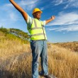 Stock Photo: Africconstruction worker with arms outstretched