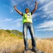 Successful african construction worker — Stock Photo
