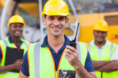 Contractor with walkie-talkie — Stock Photo