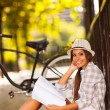 College student studying outdoors — Foto Stock
