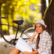College student studying outdoors — Stock Photo