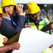 Project manager looking at the construction site — Stock Photo