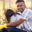 Teen volunteers cleaning streets — Stock Photo
