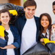 Young volunteers with garbage bag  — Stock Photo