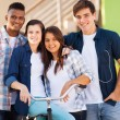 Stock Photo: Group of high school students outdoors