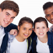 Closeup portrait of smiling high school students — Stock Photo