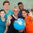 Stock Photo: High school students and teacher giving okay sign