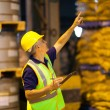Shipping company worker counting pallets — Stock Photo