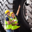 Shipping company workers checking industrial tires — 图库照片