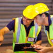 Stock Photo: Warehouse co-workers inspecting machinery