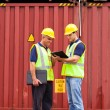 Stock Photo: Inspectors standing next to containers