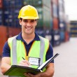 Harbor container depot worker — Stock Photo #27046601