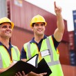 Inspectors doing inspection at the container yard — Stock Photo