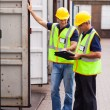 Stock Photo: Shipping company workers recording containers
