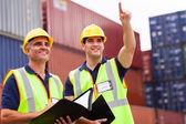 Inspektörerna göra inspektion på behållaren gården — Stockfoto