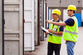 Warehouse workers checking open containers — Stockfoto