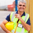 Stock Photo: Shipping company worker smoking