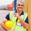 Shipping company worker smoking — Stock Photo