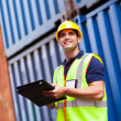 Harbor container depot worker — Stock Photo #27050629