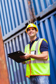 Harbor container depot worker — Stock Photo