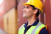Optimistic harbor worker — Stock Photo
